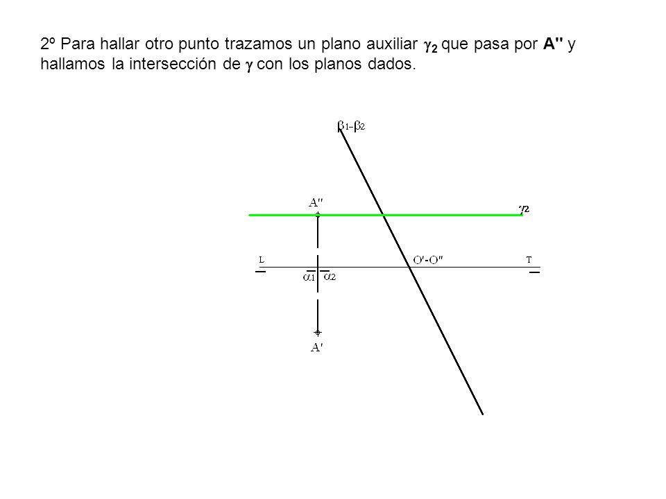 2º Para hallar otro punto trazamos un plano auxiliar 2 que pasa por A'' y hallamos la intersección de con los planos dados.