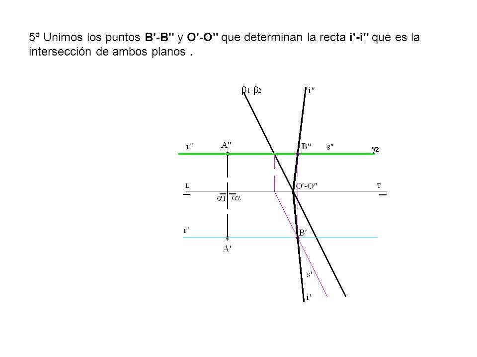 5º Unimos los puntos B'-B'' y O'-O'' que determinan la recta i'-i'' que es la intersección de ambos planos.