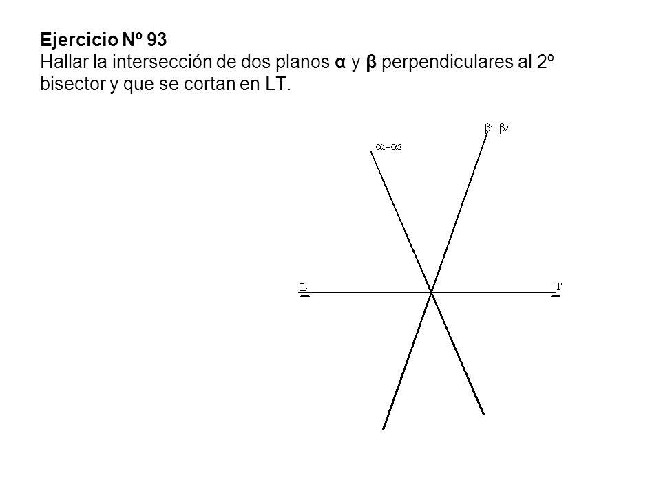 Ejercicio Nº 93 Hallar la intersección de dos planos α y β perpendiculares al 2º bisector y que se cortan en LT.