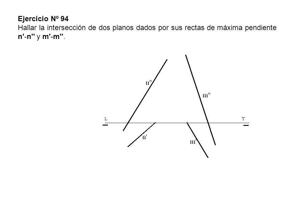 Ejercicio Nº 94 Hallar la intersección de dos planos dados por sus rectas de máxima pendiente n'-n'' y m'-m''.