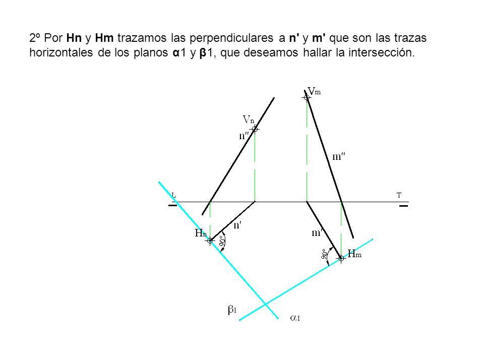 2º Por Hn y Hm trazamos las perpendiculares a n' y m' que son las trazas horizontales de los planos α1 y β1, que deseamos hallar la intersección.