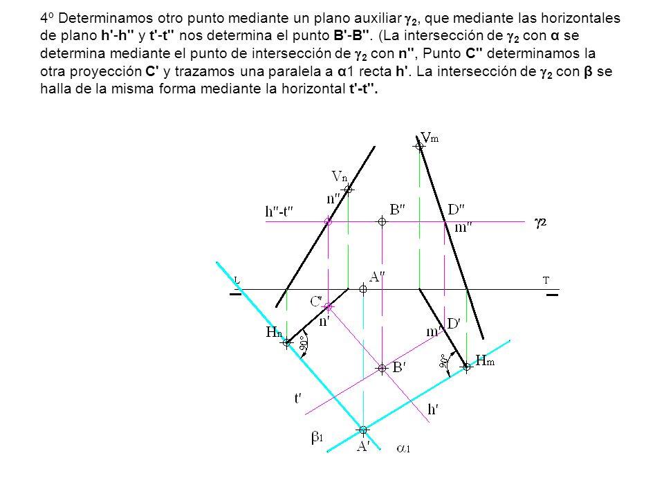 4º Determinamos otro punto mediante un plano auxiliar 2, que mediante las horizontales de plano h'-h'' y t'-t'' nos determina el punto B'-B''. (La int