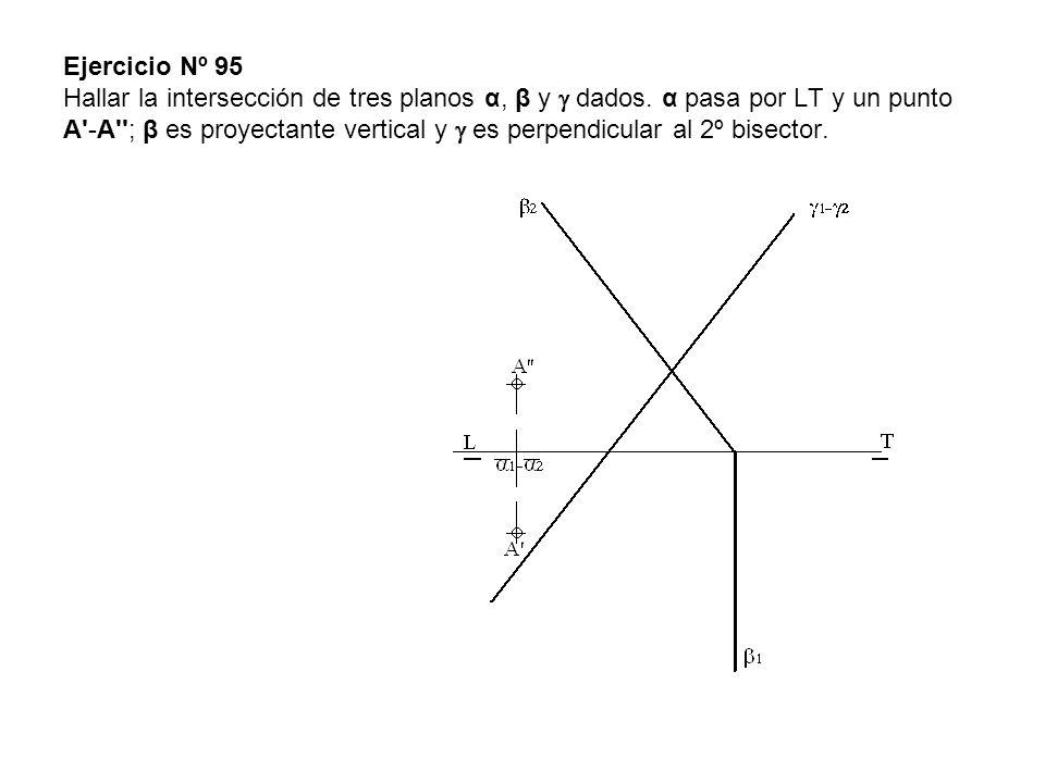Ejercicio Nº 95 Hallar la intersección de tres planos α, β y dados. α pasa por LT y un punto A'-A''; β es proyectante vertical y es perpendicular al 2