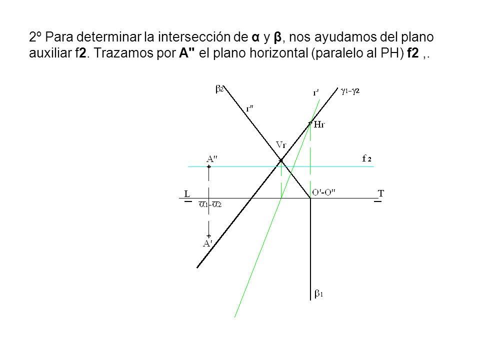 2º Para determinar la intersección de α y β, nos ayudamos del plano auxiliar f2. Trazamos por A'' el plano horizontal (paralelo al PH) f2,.
