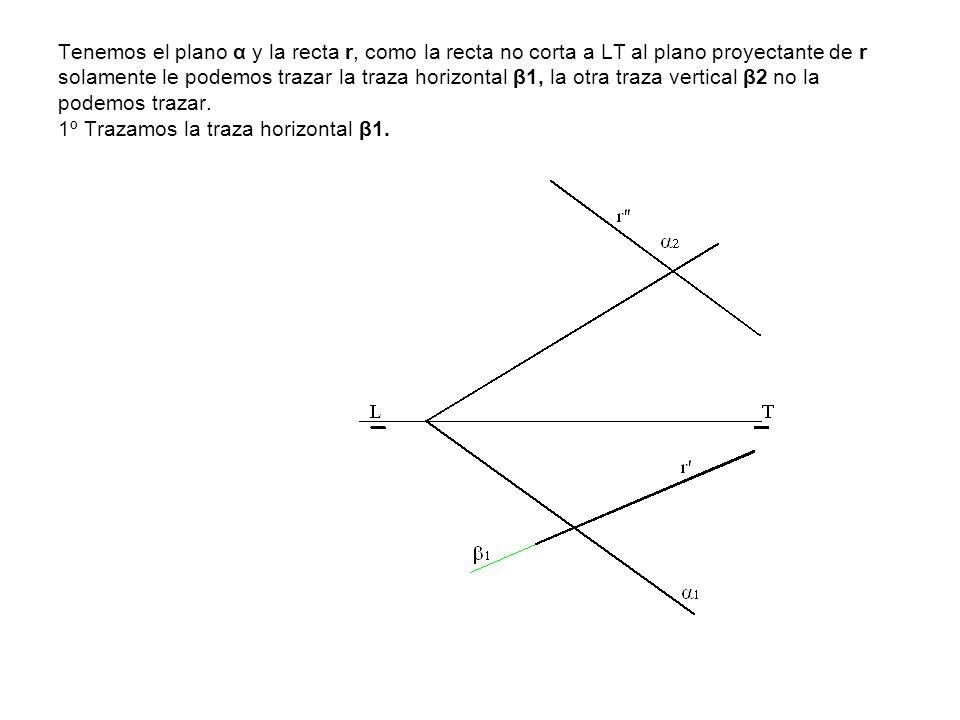 Tenemos el plano α y la recta r, como la recta no corta a LT al plano proyectante de r solamente le podemos trazar la traza horizontal β1, la otra tra