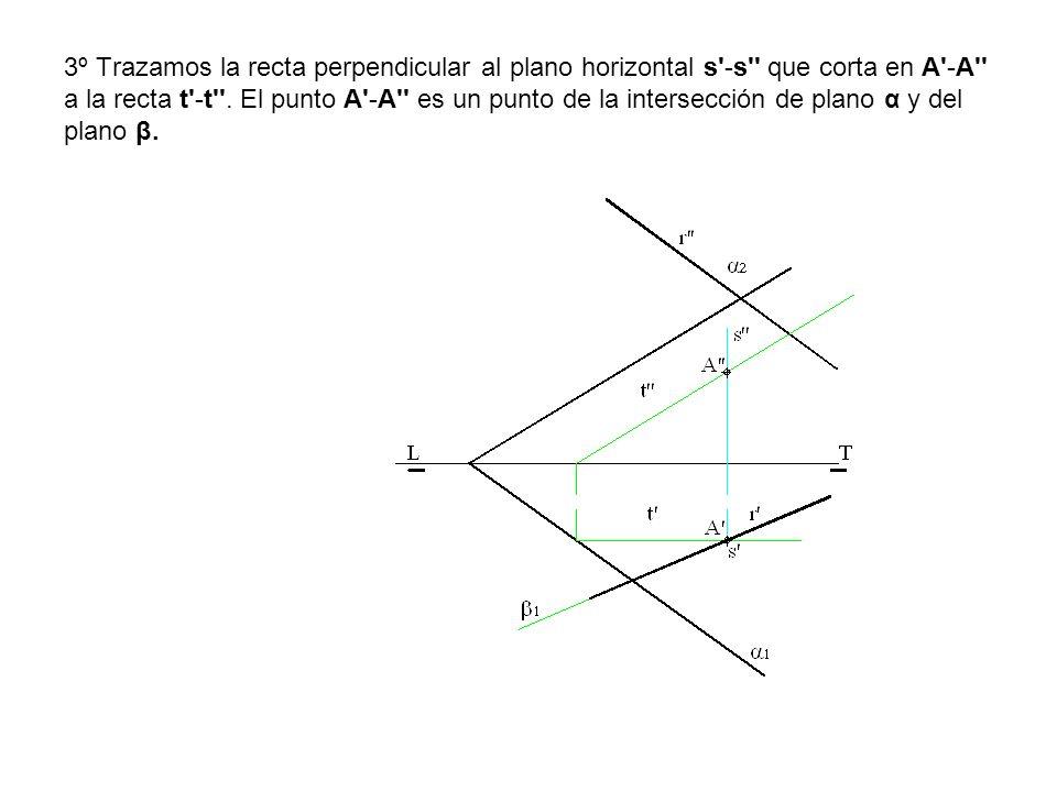 3º Trazamos la recta perpendicular al plano horizontal s'-s'' que corta en A'-A'' a la recta t'-t''. El punto A'-A'' es un punto de la intersección de