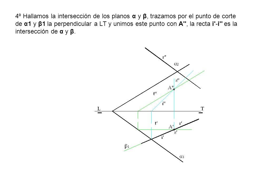 4º Hallamos la intersección de los planos α y β, trazamos por el punto de corte de α1 y β1 la perpendicular a LT y unimos este punto con A'', la recta