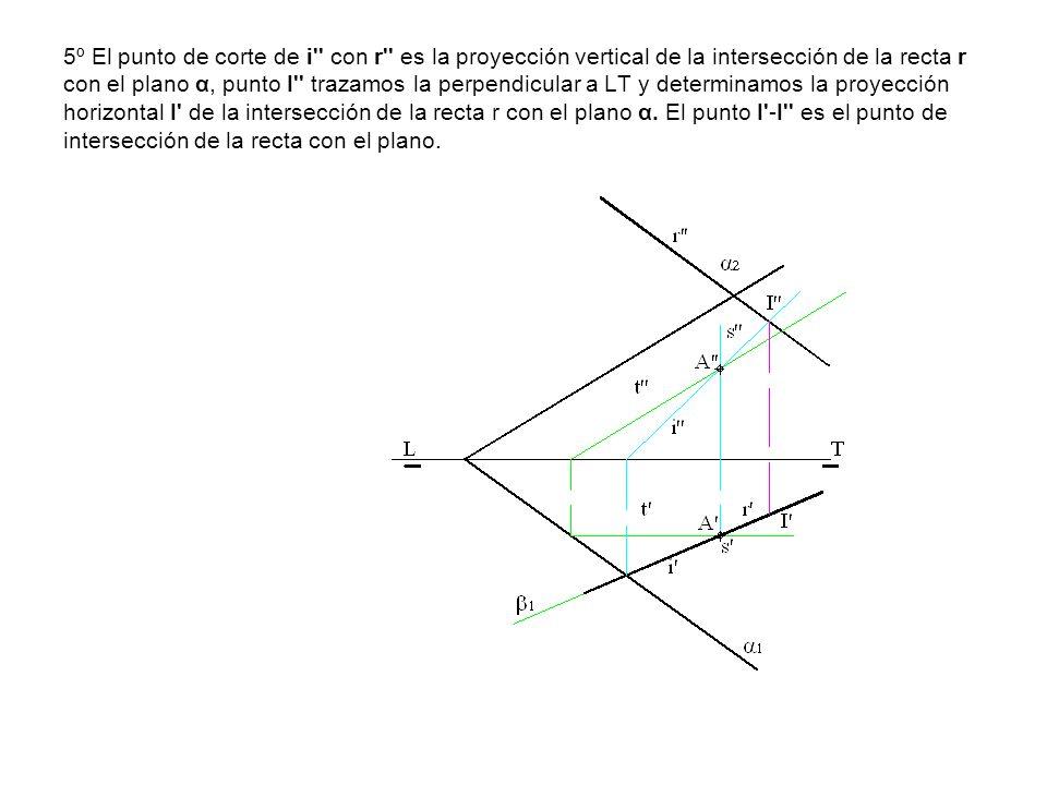 5º El punto de corte de i'' con r'' es la proyección vertical de la intersección de la recta r con el plano α, punto I'' trazamos la perpendicular a L