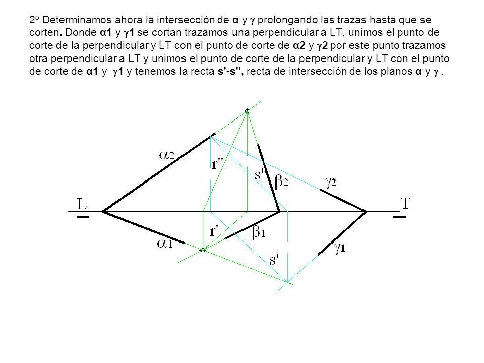 2º Determinamos ahora la intersección de α y prolongando las trazas hasta que se corten. Donde α1 y 1 se cortan trazamos una perpendicular a LT, unimo