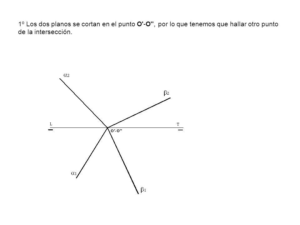 1º Los dos planos se cortan en el punto O'-O'', por lo que tenemos que hallar otro punto de la intersección.
