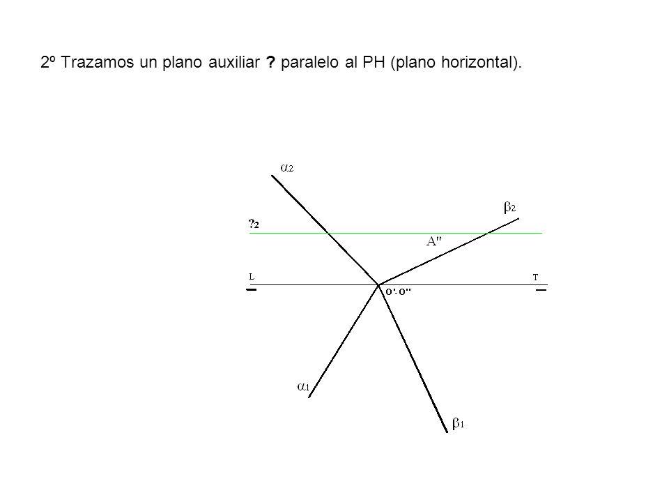 2º Trazamos un plano auxiliar ? paralelo al PH (plano horizontal).