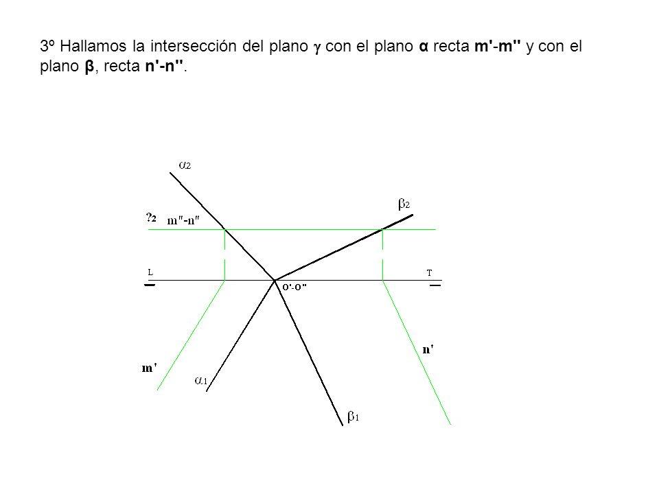 3º Hallamos la intersección del plano con el plano α recta m'-m'' y con el plano β, recta n'-n''.