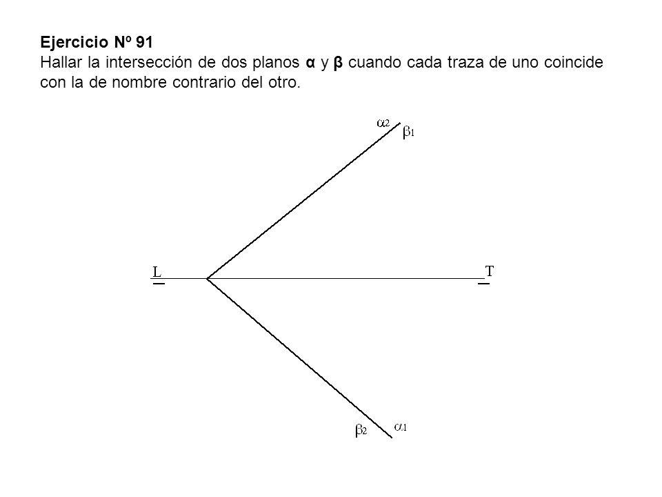 Ejercicio Nº 91 Hallar la intersección de dos planos α y β cuando cada traza de uno coincide con la de nombre contrario del otro.
