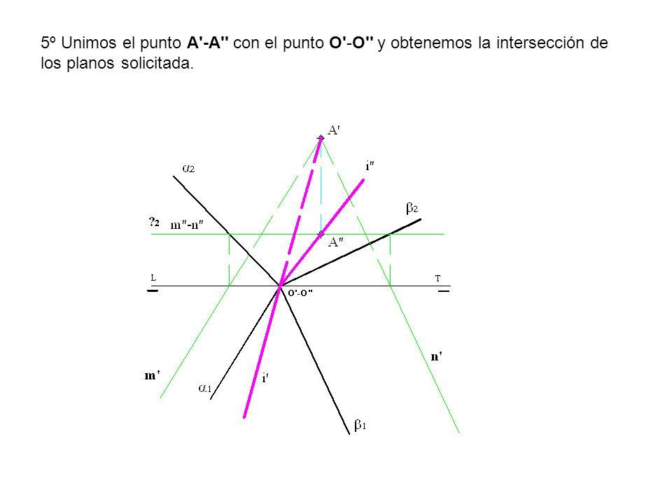 5º Unimos el punto A'-A'' con el punto O'-O'' y obtenemos la intersección de los planos solicitada.