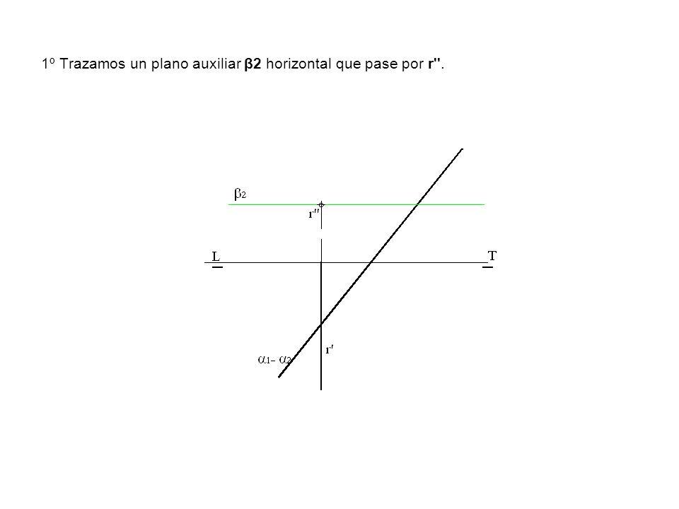1º Trazamos un plano auxiliar β2 horizontal que pase por r''.