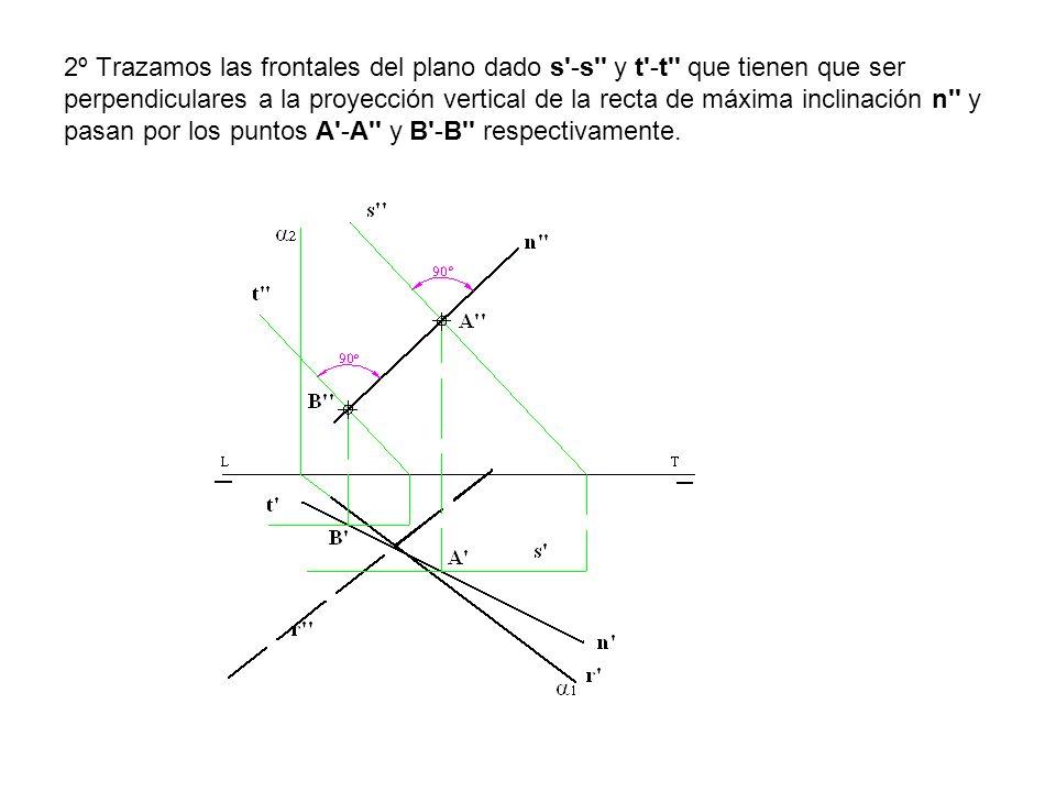2º Trazamos las frontales del plano dado s'-s'' y t'-t'' que tienen que ser perpendiculares a la proyección vertical de la recta de máxima inclinación