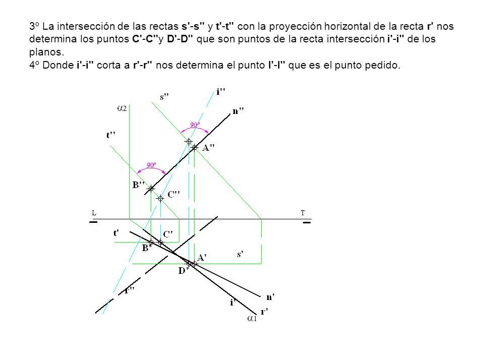 3º La intersección de las rectas s'-s'' y t'-t'' con la proyección horizontal de la recta r' nos determina los puntos C'-C''y D'-D'' que son puntos de