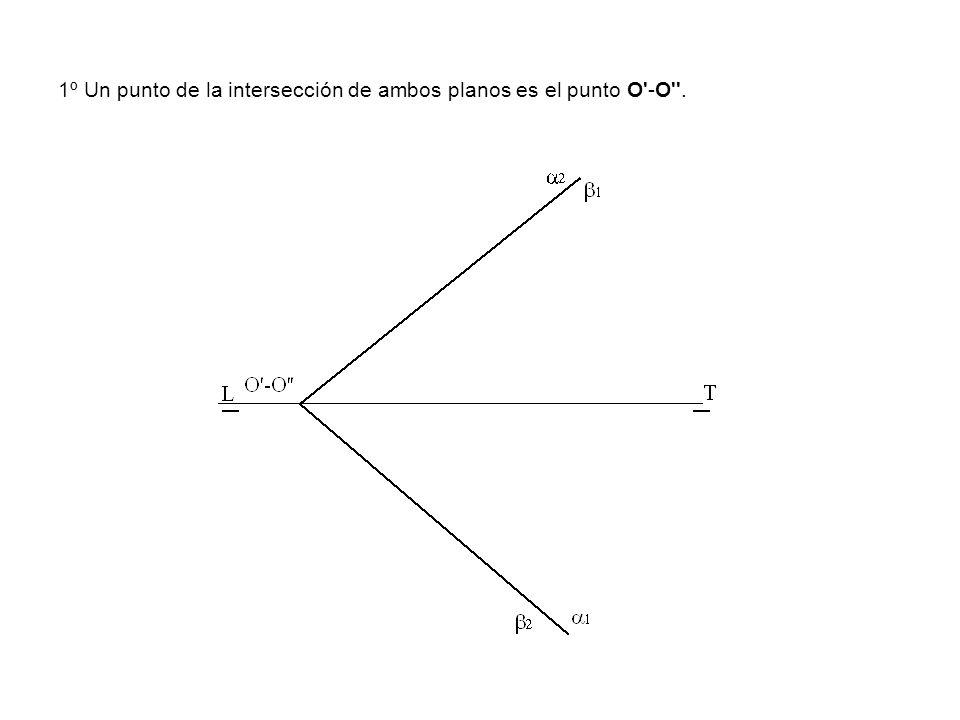 1º Un punto de la intersección de ambos planos es el punto O'-O''.
