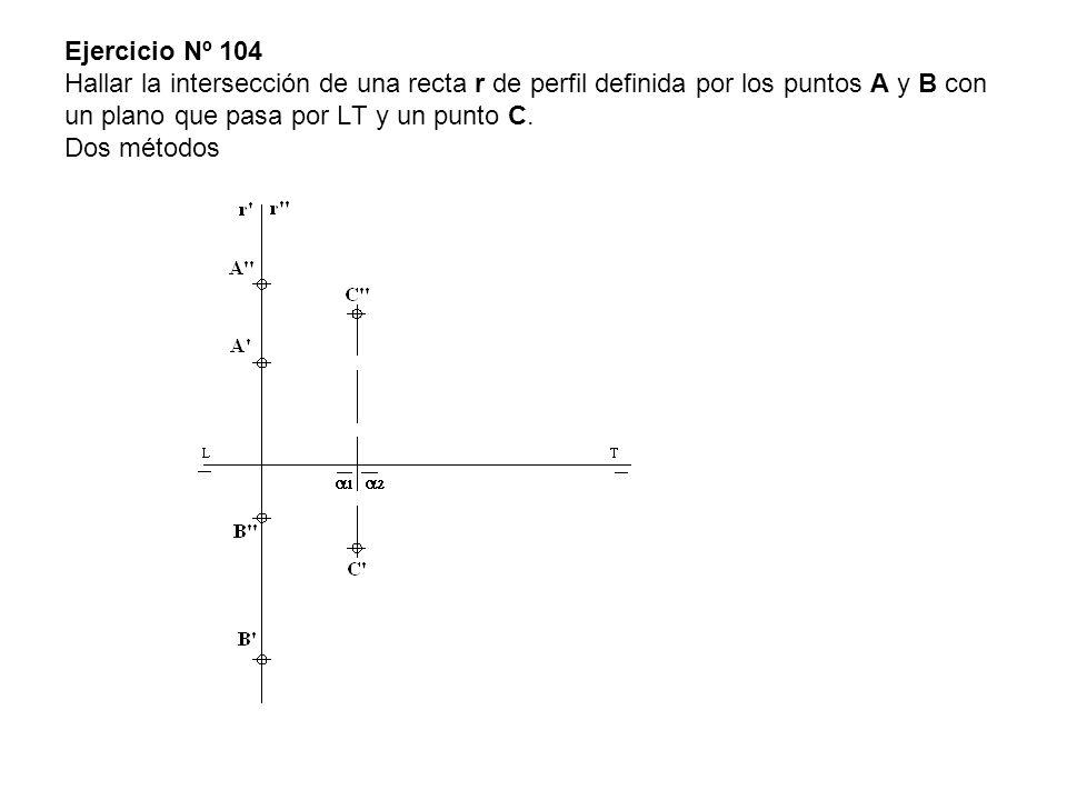 Ejercicio Nº 104 Hallar la intersección de una recta r de perfil definida por los puntos A y B con un plano que pasa por LT y un punto C. Dos métodos