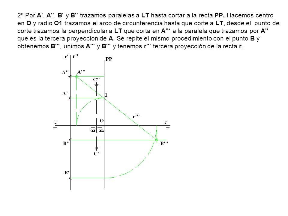 2º Por A', A'', B' y B'' trazamos paralelas a LT hasta cortar a la recta PP. Hacemos centro en O y radio O1 trazamos el arco de circunferencia hasta q