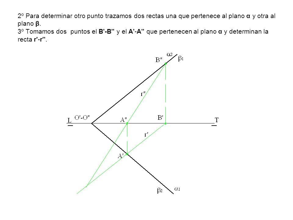2º Para determinar otro punto trazamos dos rectas una que pertenece al plano α y otra al plano β. 3º Tomamos dos puntos el B'-B'' y el A'-A'' que pert