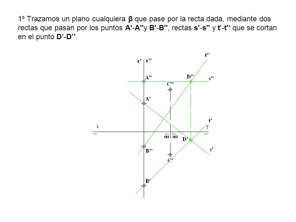 1º Trazamos un plano cualquiera β que pase por la recta dada, mediante dos rectas que pasan por los puntos A'-A''y B'-B'', rectas s'-s'' y t'-t' que s