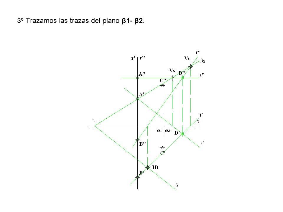 3º Trazamos las trazas del plano β1- β2.