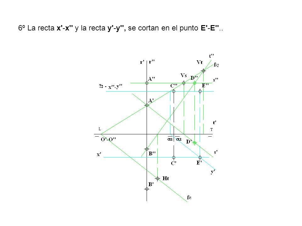 6º La recta x'-x'' y la recta y'-y'', se cortan en el punto E'-E''..