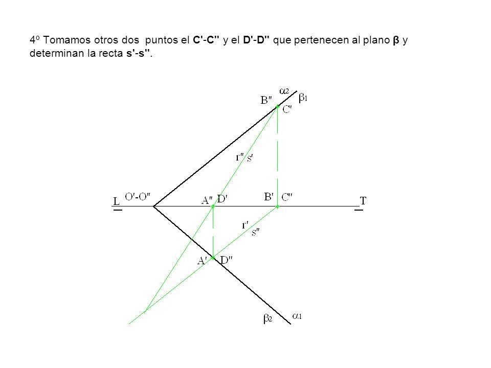 4º Tomamos otros dos puntos el C'-C'' y el D'-D'' que pertenecen al plano β y determinan la recta s'-s''.