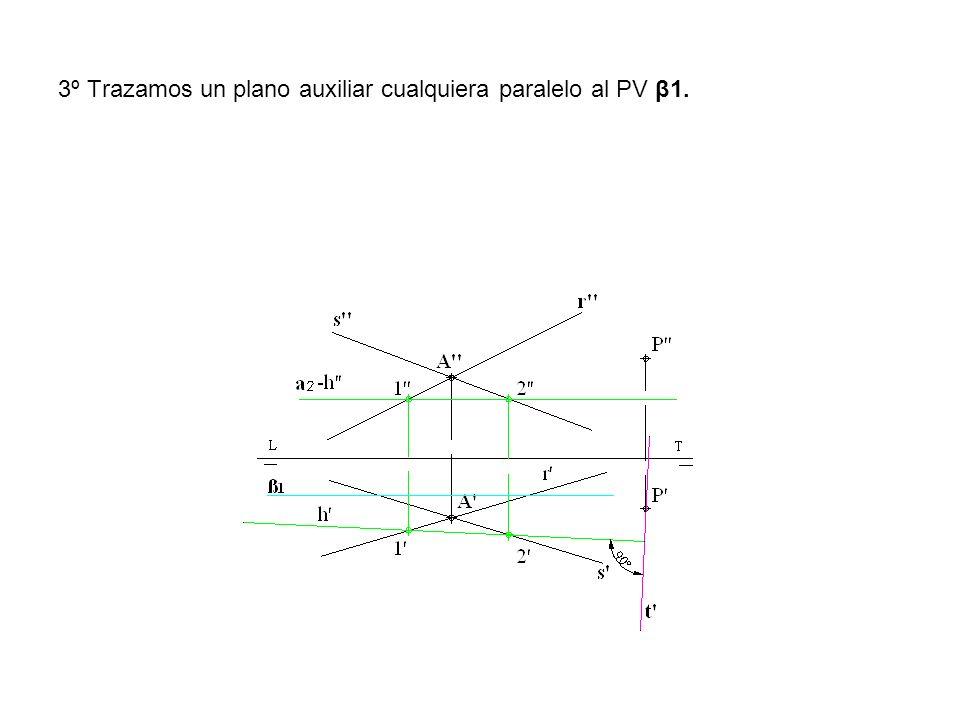 3º Trazamos un plano auxiliar cualquiera paralelo al PV β1.