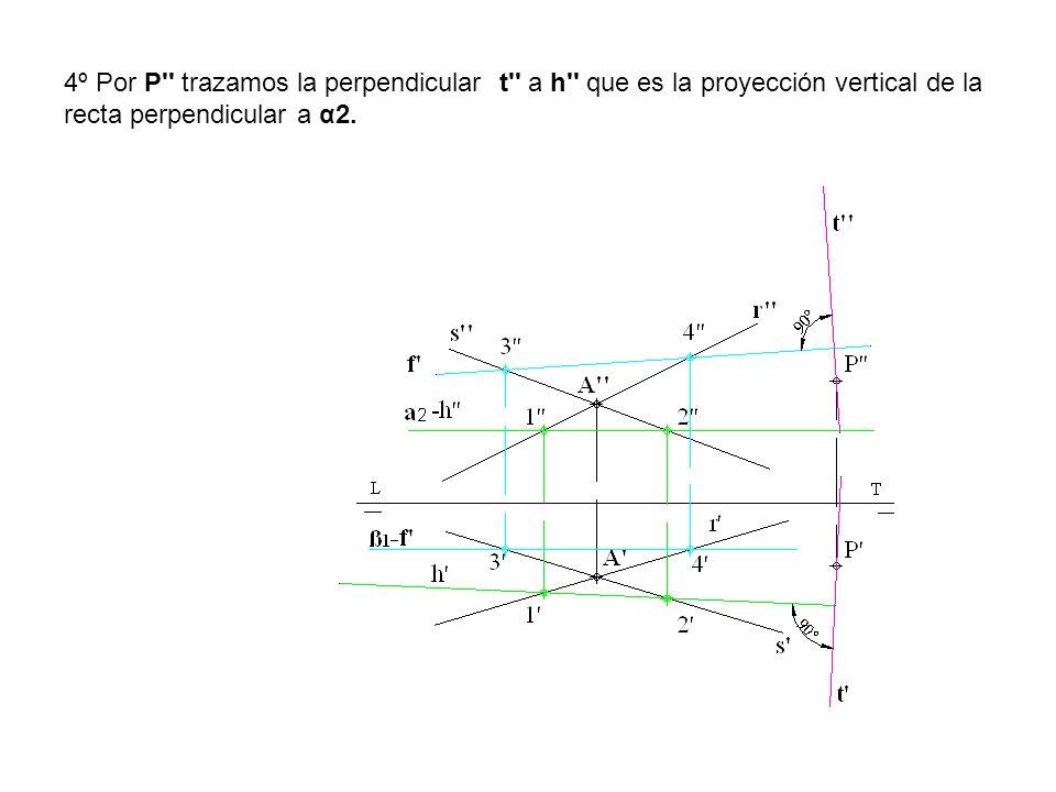 4º Por P'' trazamos la perpendicular t'' a h'' que es la proyección vertical de la recta perpendicular a α2.