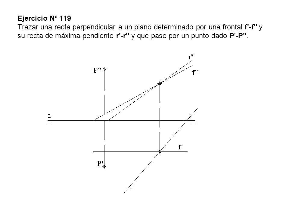 Ejercicio Nº 119 Trazar una recta perpendicular a un plano determinado por una frontal f'-f'' y su recta de máxima pendiente r'-r'' y que pase por un