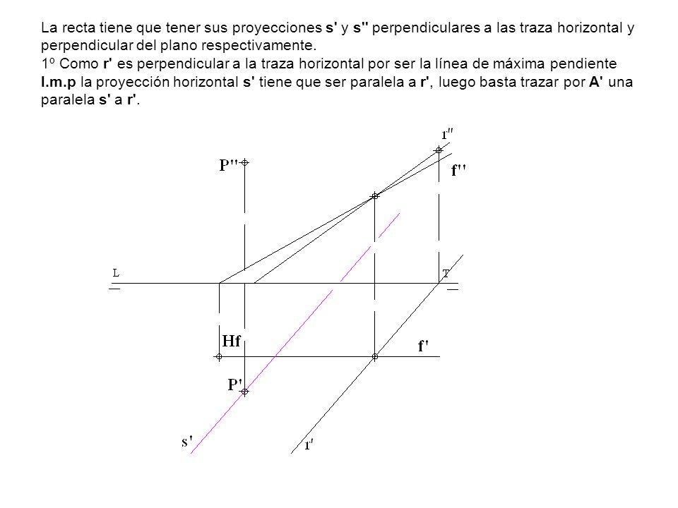 La recta tiene que tener sus proyecciones s' y s'' perpendiculares a las traza horizontal y perpendicular del plano respectivamente. 1º Como r' es per