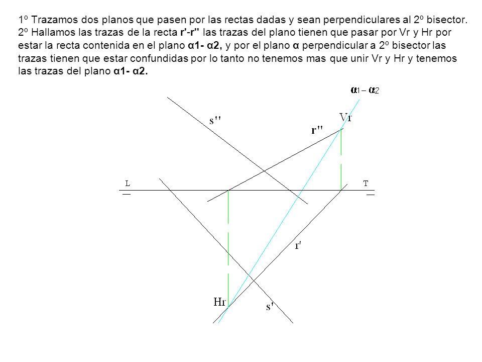 1º Trazamos dos planos que pasen por las rectas dadas y sean perpendiculares al 2º bisector. 2º Hallamos las trazas de la recta r'-r'' las trazas del