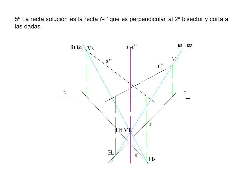 5º La recta solución es la recta i'-i'' que es perpendicular al 2º bisector y corta a las dadas.