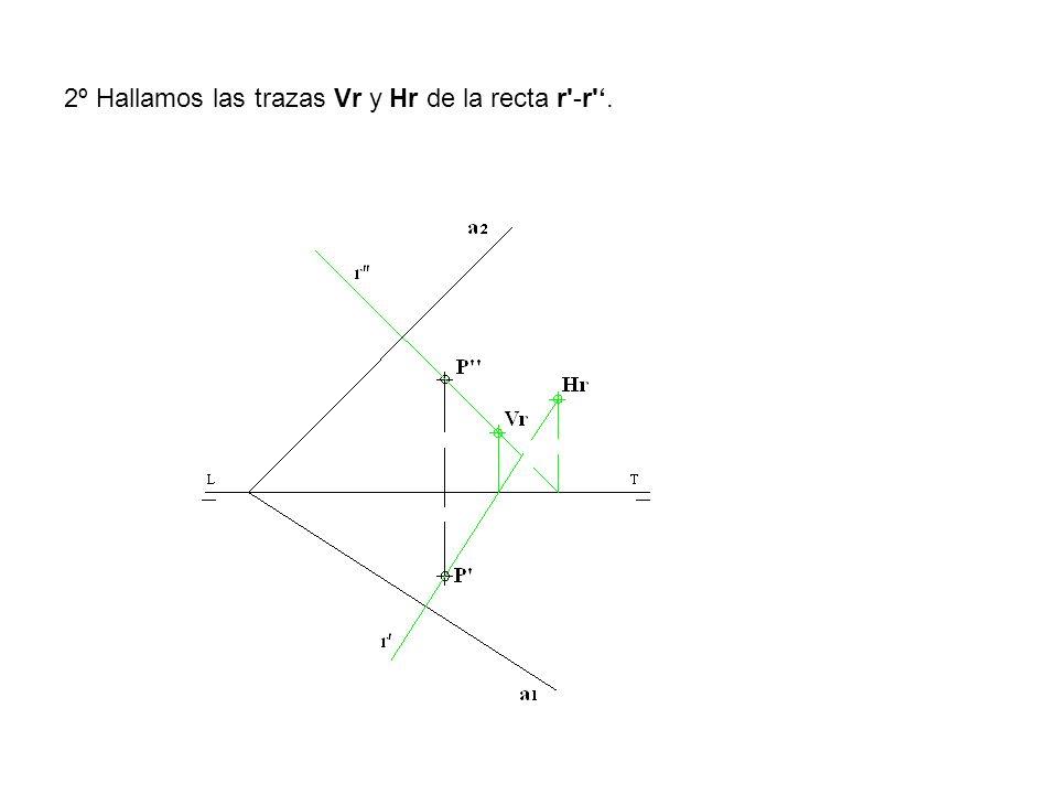 2º Hallamos las trazas Vr y Hr de la recta r'-r'.