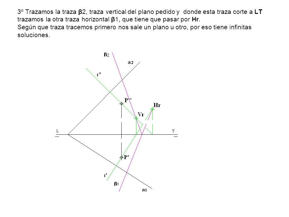3º Trazamos la traza β2, traza vertical del plano pedido y donde esta traza corte a LT trazamos la otra traza horizontal β1, que tiene que pasar por H