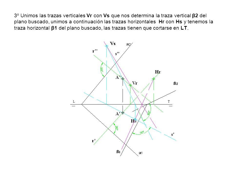 3º Unimos las trazas verticales Vr con Vs que nos determina la traza vertical β2 del plano buscado, unimos a continuación las trazas horizontales Hr c