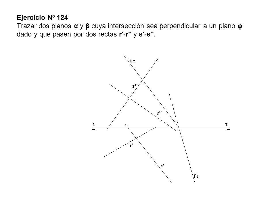 Ejercicio Nº 124 Trazar dos planos α y β cuya intersección sea perpendicular a un plano φ dado y que pasen por dos rectas r'-r'' y s'-s''.