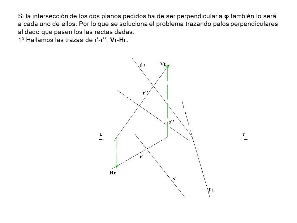 Si la intersección de los dos planos pedidos ha de ser perpendicular a φ también lo será a cada uno de ellos. Por lo que se soluciona el problema traz