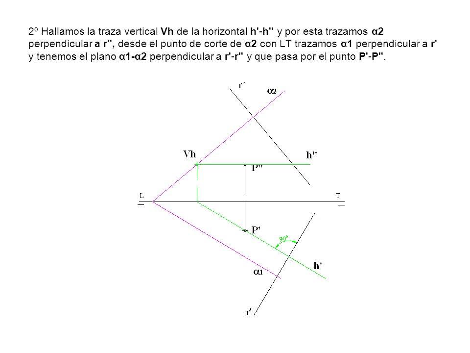 2º Hallamos la traza vertical Vh de la horizontal h'-h'' y por esta trazamos α2 perpendicular a r'', desde el punto de corte de α2 con LT trazamos α1
