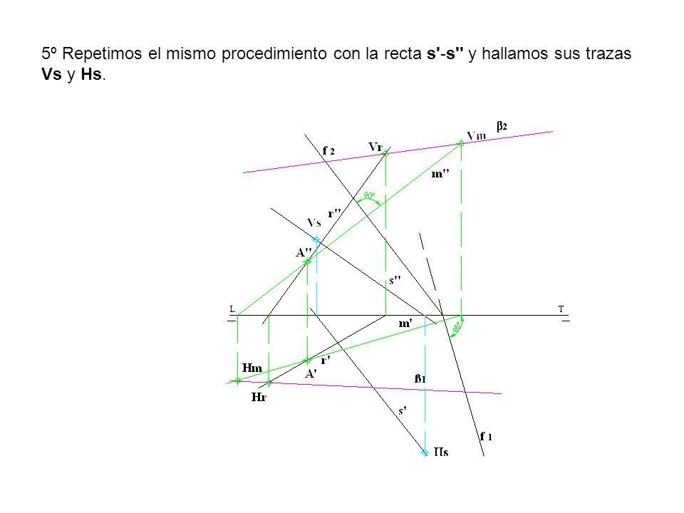 5º Repetimos el mismo procedimiento con la recta s'-s'' y hallamos sus trazas Vs y Hs.