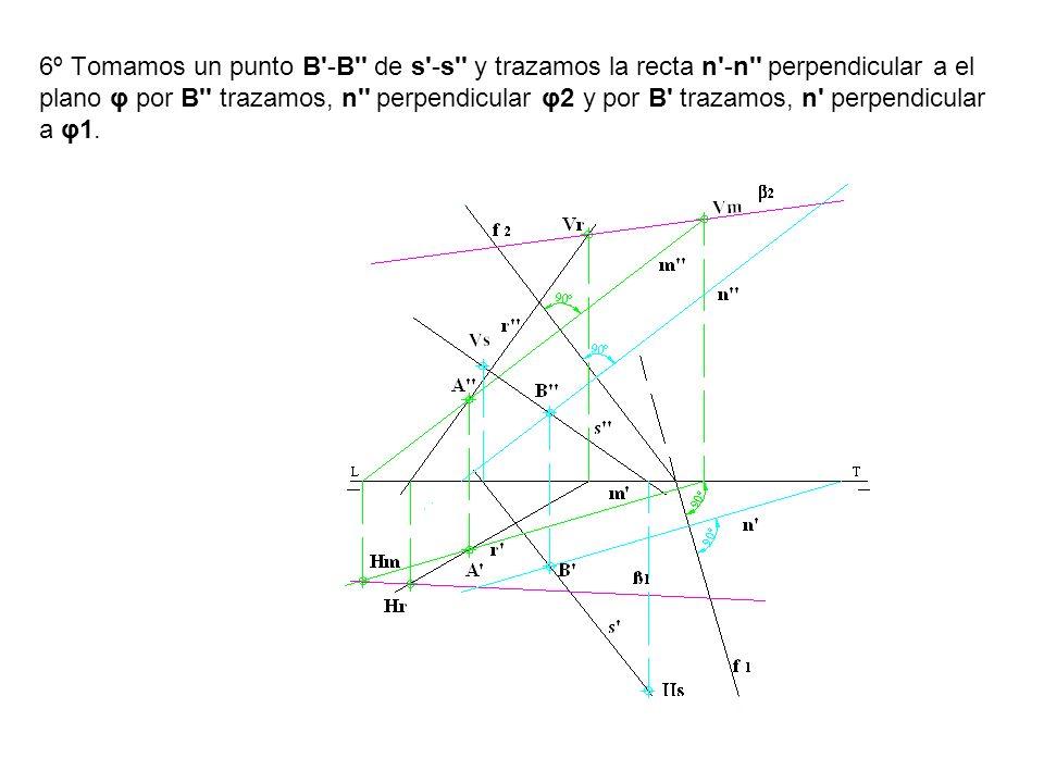 6º Tomamos un punto B'-B'' de s'-s'' y trazamos la recta n'-n'' perpendicular a el plano φ por B'' trazamos, n'' perpendicular φ2 y por B' trazamos, n