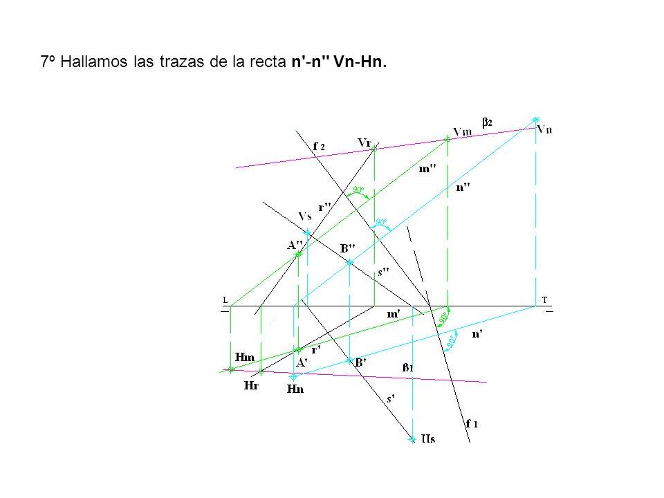 7º Hallamos las trazas de la recta n'-n'' Vn-Hn.