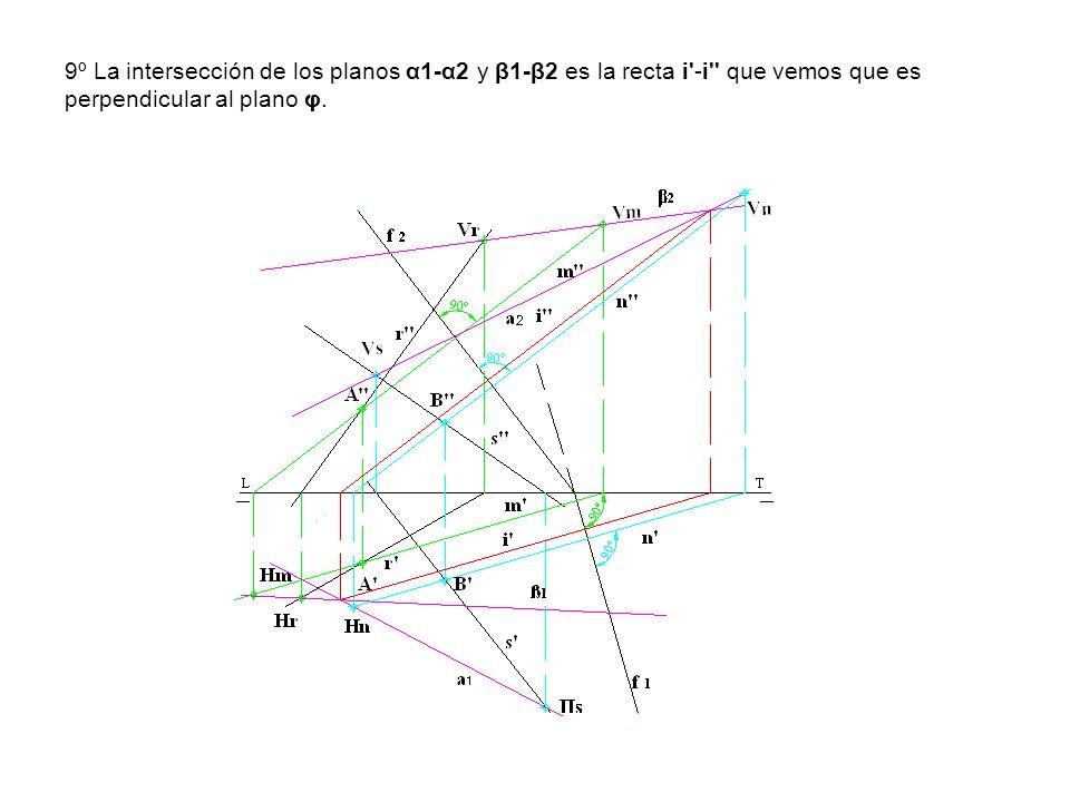 9º La intersección de los planos α1-α2 y β1-β2 es la recta i'-i'' que vemos que es perpendicular al plano φ.