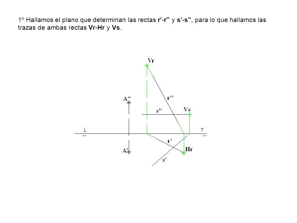 1º Hallamos el plano que determinan las rectas r'-r'' y s'-s'', para lo que hallamos las trazas de ambas rectas Vr-Hr y Vs.