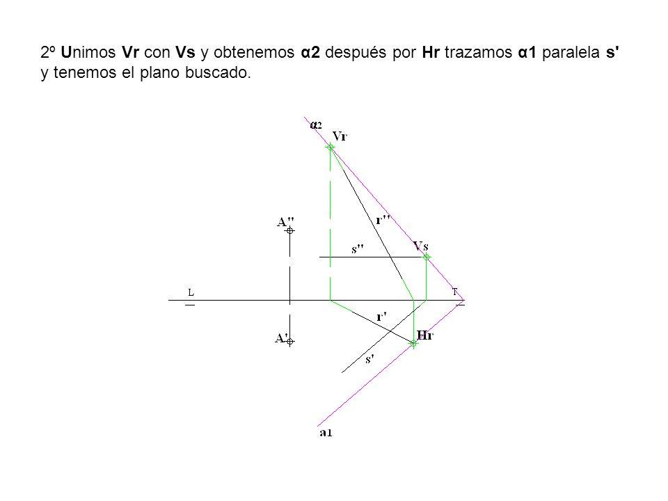 2º Unimos Vr con Vs y obtenemos α2 después por Hr trazamos α1 paralela s' y tenemos el plano buscado.
