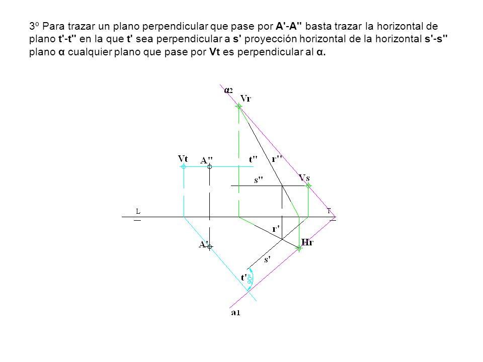 3º Para trazar un plano perpendicular que pase por A'-A'' basta trazar la horizontal de plano t'-t'' en la que t' sea perpendicular a s' proyección ho