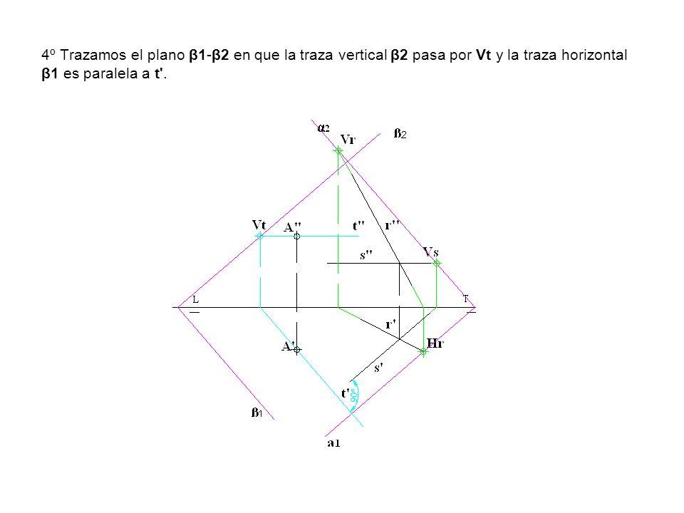 4º Trazamos el plano β1-β2 en que la traza vertical β2 pasa por Vt y la traza horizontal β1 es paralela a t'.