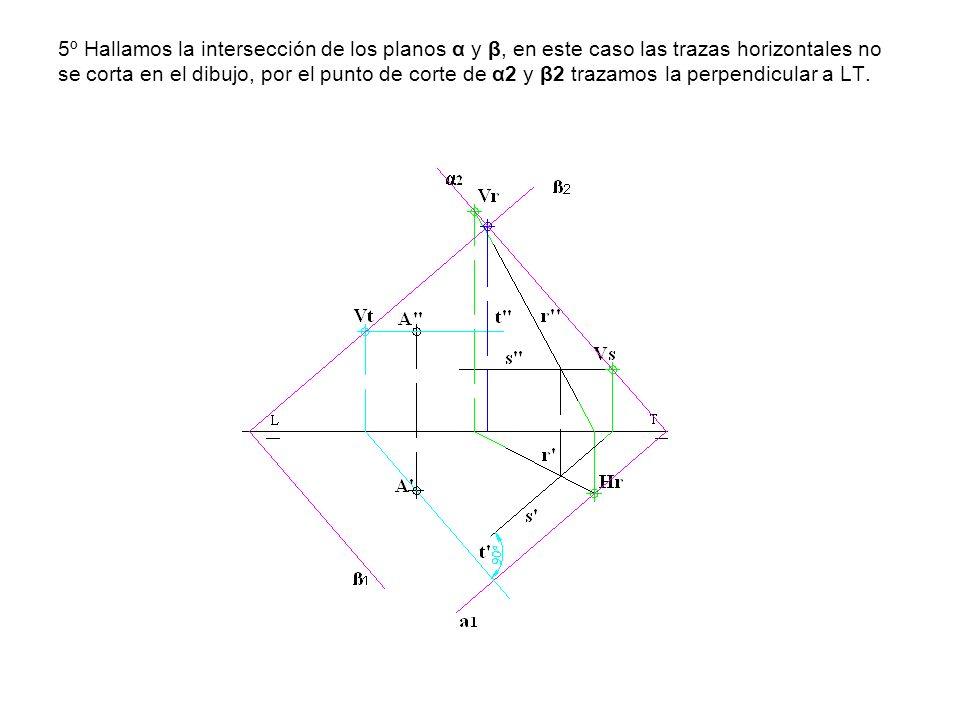 5º Hallamos la intersección de los planos α y β, en este caso las trazas horizontales no se corta en el dibujo, por el punto de corte de α2 y β2 traza